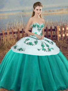 Hot Selling Turquoise Ball Gowns Embroidery and Bowknot Quinceanera Gown Lace Up Tulle Sleeveless Floor Length
