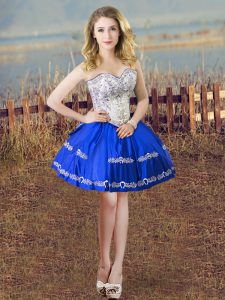 Spectacular Blue And White Lace Up Sweetheart Embroidery Dress for Prom Satin Sleeveless