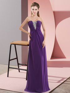 Purple Sleeveless Floor Length Beading Zipper Evening Dress