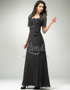 Hot Sale Black Short Sleeves Lace and Bowknot Ankle Length Quinceanera Dama Dress
