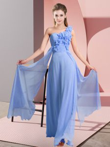 Blue Empire Chiffon One Shoulder Sleeveless Hand Made Flower Floor Length Lace Up Quinceanera Court of Honor Dress