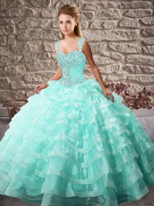 Superior Aqua Blue Lace Up Straps Beading and Ruffled Layers 15th Birthday Dress Organza Sleeveless Court Train