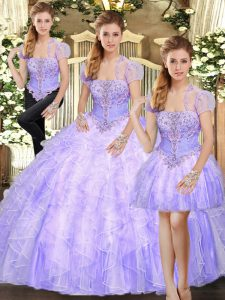 Superior Strapless Sleeveless Quinceanera Gown Floor Length Beading and Appliques and Ruffles Lavender Tulle