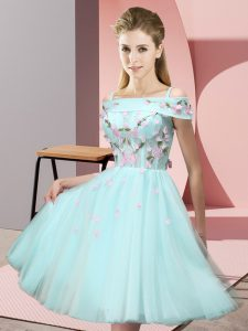 Tulle Short Sleeves Knee Length Dama Dress and Appliques