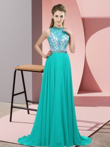Empire Sleeveless Turquoise Evening Wear Brush Train Backless