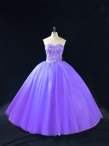 Stylish Sleeveless Tulle Floor Length Lace Up Quinceanera Gowns in Lavender with Beading