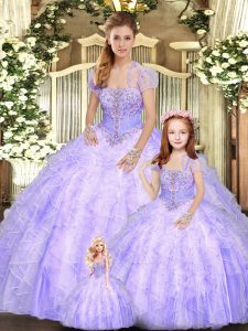 Superior Strapless Sleeveless 15 Quinceanera Dress Floor Length Beading and Appliques and Ruffles Lavender Tulle
