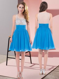 Baby Blue Vestidos de Damas Wedding Party with Beading Scoop Sleeveless Side Zipper