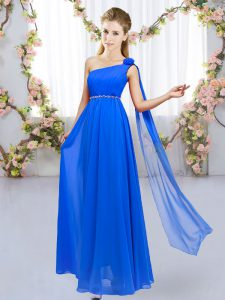 Luxury Beading and Hand Made Flower Damas Dress Royal Blue Lace Up Sleeveless Floor Length