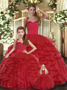 Floor Length Ball Gowns Sleeveless Red Quinceanera Gowns Lace Up