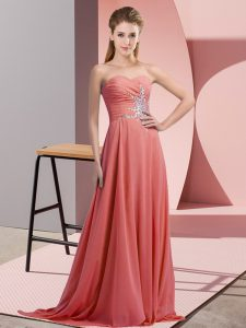 Floor Length Watermelon Red Homecoming Dress Sweetheart Sleeveless Lace Up