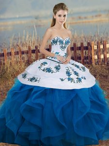 Pretty Floor Length Blue And White Sweet 16 Dress Tulle Sleeveless Embroidery and Ruffles and Bowknot
