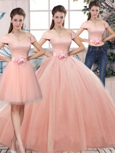 Graceful Floor Length Pink Sweet 16 Dresses Tulle Short Sleeves Lace and Hand Made Flower