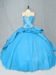 Baby Blue Sweet 16 Quinceanera Dress Sweetheart Sleeveless Court Train Lace Up
