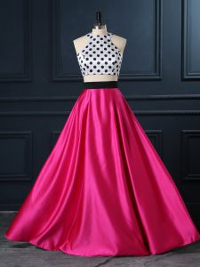 Popular Hot Pink Scoop Neckline Ruching Prom Dress Sleeveless Lace Up