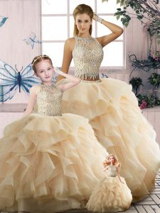 Wonderful Sleeveless Tulle Floor Length Zipper 15 Quinceanera Dress in Champagne with Beading and Ruffles
