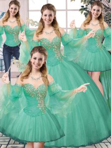 Tulle Sweetheart Sleeveless Lace Up Beading 15 Quinceanera Dress in Turquoise