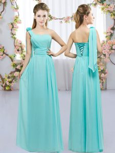 Aqua Blue Empire Hand Made Flower Dama Dress Lace Up Chiffon Sleeveless Floor Length