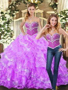 Lilac Ball Gowns Organza Sweetheart Sleeveless Beading and Ruffles Floor Length Lace Up Sweet 16 Quinceanera Dress
