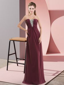 Empire Formal Evening Gowns Burgundy Sweetheart Chiffon Sleeveless Floor Length Zipper