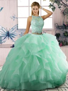 Stylish Sleeveless Tulle Floor Length Lace Up 15 Quinceanera Dress in Apple Green with Beading and Ruffles