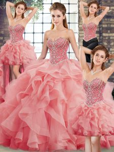 Hot Sale Sweetheart Sleeveless Ball Gown Prom Dress Brush Train Beading and Ruffles Watermelon Red Tulle