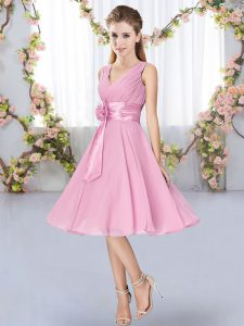 Customized Rose Pink Sleeveless Knee Length Hand Made Flower Lace Up Quinceanera Court Dresses