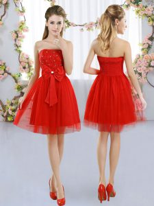 Artistic Red Dama Dress Wedding Party with Beading and Bowknot Strapless Sleeveless Side Zipper
