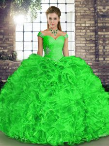 Green Sleeveless Floor Length Beading and Ruffles Lace Up Quinceanera Dresses