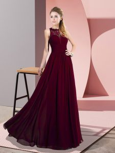 Inexpensive Burgundy Chiffon Zipper Scoop Sleeveless Floor Length Evening Outfits Lace