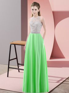 Elegant Green Backless Scoop Beading Homecoming Dress Satin Sleeveless