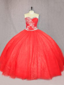 Sumptuous Red Sleeveless Beading Floor Length Ball Gown Prom Dress