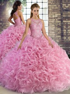 Excellent Rose Pink Sweet 16 Dresses Military Ball and Sweet 16 and Quinceanera with Beading Scoop Sleeveless Lace Up