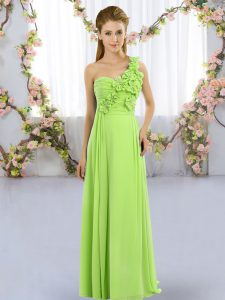 Elegant Lace Up Quinceanera Court Dresses Hand Made Flower Sleeveless Floor Length