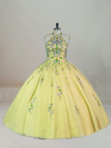 Charming Sleeveless Tulle Brush Train Lace Up Quinceanera Dress in Yellow Green with Appliques and Embroidery