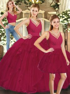 Floor Length Lace Up Quinceanera Gown Red for Sweet 16 and Quinceanera with Ruffles