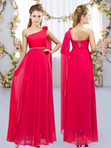 Most Popular Red Sleeveless Beading and Hand Made Flower Floor Length Dama Dress