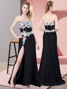 Exquisite Black Sweetheart Neckline Lace and Appliques Evening Dress Sleeveless Zipper