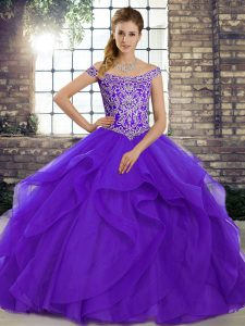 Purple Tulle Lace Up 15th Birthday Dress Sleeveless Brush Train Beading and Ruffles