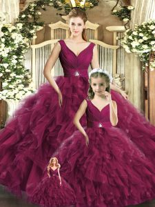 Dramatic Burgundy Tulle Backless V-neck Sleeveless Floor Length Quinceanera Dresses Beading and Ruffles
