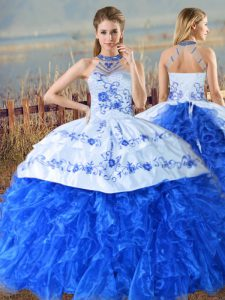 Royal Blue Sleeveless Court Train Embroidery and Ruffles Vestidos de Quinceanera