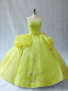 Modern Straps Sleeveless Lace Up Quinceanera Dress Yellow Green Organza