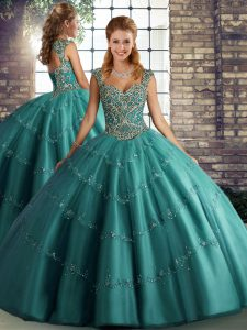Customized Tulle Straps Sleeveless Lace Up Beading and Appliques Quince Ball Gowns in Teal