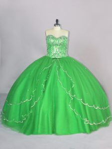 Free and Easy Ball Gowns Sweetheart Sleeveless Tulle Brush Train Lace Up Beading Sweet 16 Quinceanera Dress