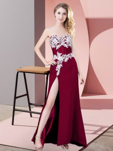 Shining Fuchsia Column/Sheath Lace and Appliques Prom Party Dress Zipper Chiffon Sleeveless Floor Length