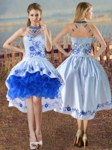Deluxe Sleeveless Embroidery and Ruffles Lace Up Prom Dress