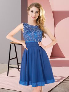 Ideal Blue Empire Chiffon Scoop Sleeveless Beading and Appliques Mini Length Backless Dama Dress for Quinceanera