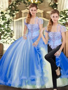 Dynamic Strapless Sleeveless Quinceanera Gowns Floor Length Beading and Ruffles Blue Tulle
