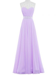 Lavender Empire Scoop Sleeveless Chiffon Floor Length Backless Beading Evening Gowns