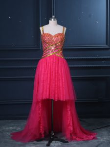 Elegant High Low Zipper Homecoming Dress Hot Pink for Prom and Party and Military Ball with Beading and Lace and Sequins